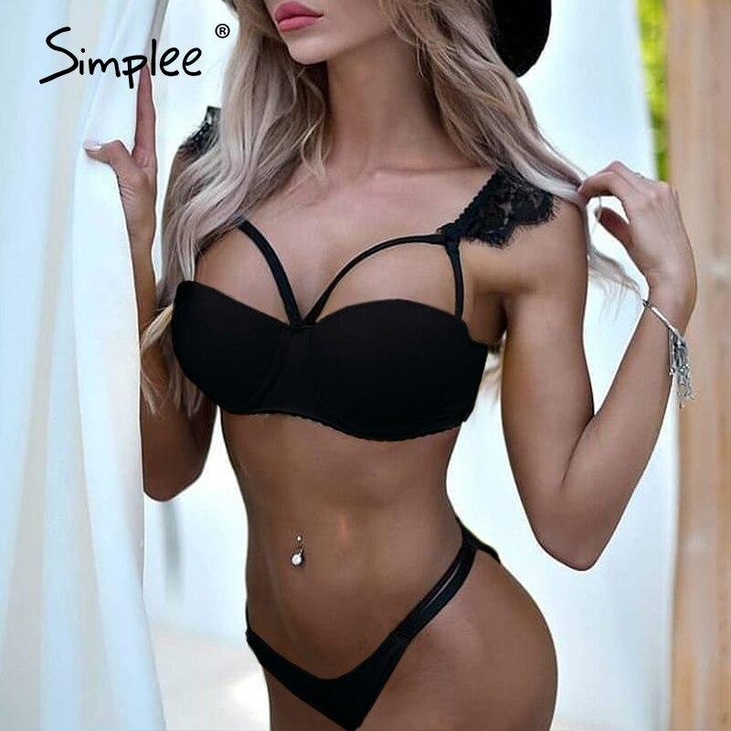 Simplee Solid Black Bikini Set Bandage Hollow Out Lace Strap Women Swimwear Brazilian Beach Wear Summer Swimsuit Biquini 2020