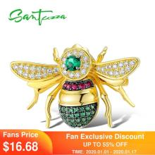 Silver Brooch Jewelry SANTUZZA 100%925-Sterling-Silver Trendy Women Insect for Authentic