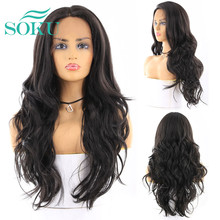 SOKU Ombre üflemeli altın renk uzun dalgalı sentetik dantel ön peruk kadınlar için bebek saç tutkalsız ısıya dayanıklı iplik saç peruk