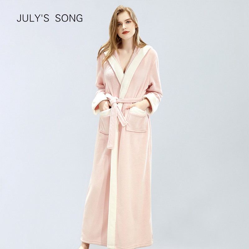 JULY'S SONG Woman Winter Thick Warm Robes Flannel Warm Bathrobe Long Autumn With Hat Sleepwear Robe Soft Women Pajamas Robe