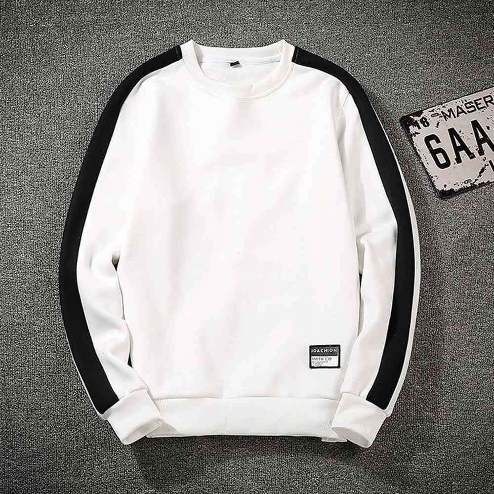 Zwart Wit Solid Mannen 2020 Losse Casual Sweatshirts Mannen Stijl Casual Mode Patchwork O-hals Lange Sleevestop Blouse Hoodie