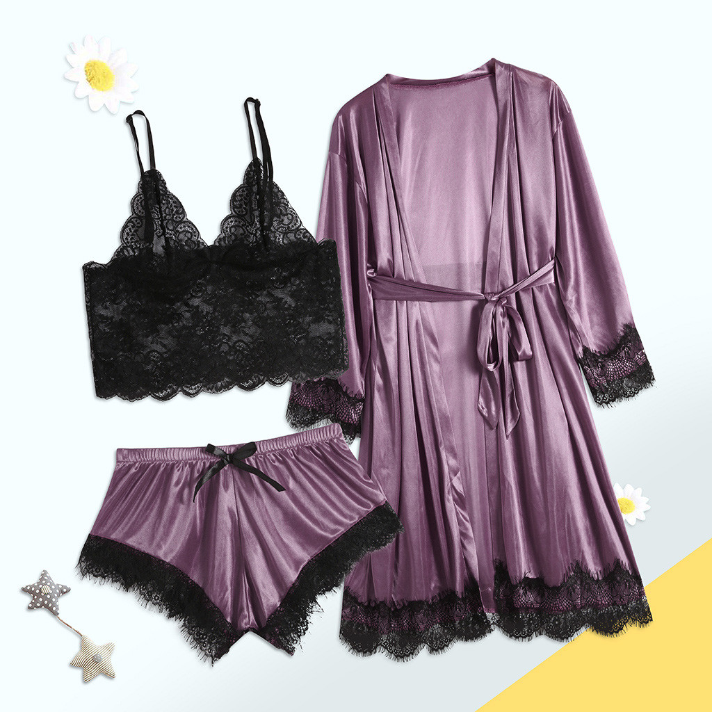 New Women Pijamas Sexy Mujer Lady Women Sexy Lace Lingerie Nightwear Underwear Sleepwear 3pc Suits Sets Пижама Женская
