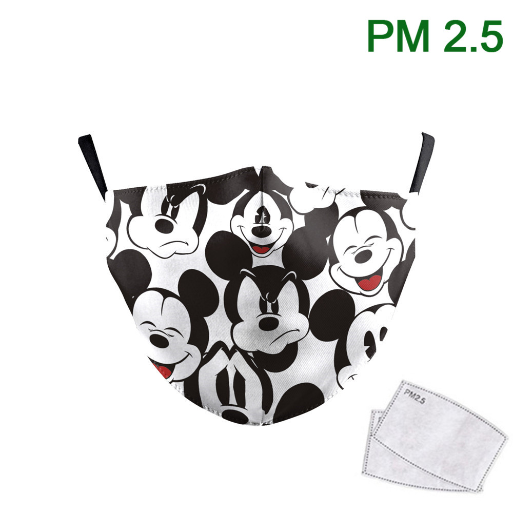 Cute Mouse Print Mask Kids Washable Fabric Mask PM 2.5 Protective Reusable Dust Masks Cartoon Children Mouth-Muffle