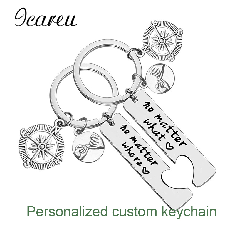 2 PCS/Lot Diy Personalized Compass Charms Customized Keychain Gifts For Couples Hollow Heart Jewelry