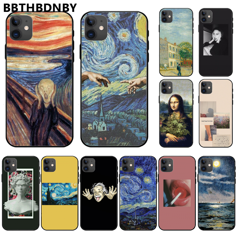 3D Relief Van Gogh Cover Black Soft Shell <font><b>baseus</b></font> case For <font><b>iphone</b></font> 11 pro max x xs xr 7 8 plus 6 <font><b>6s</b></font> 5 5s 5se shell image
