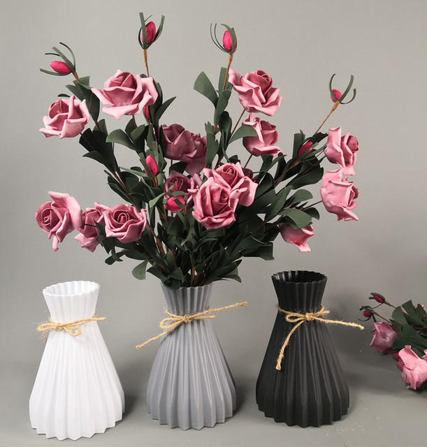 Vase decoration household plastic vase white rattan new waist vase crafts vase decoration home flower girl basket for wedding 1