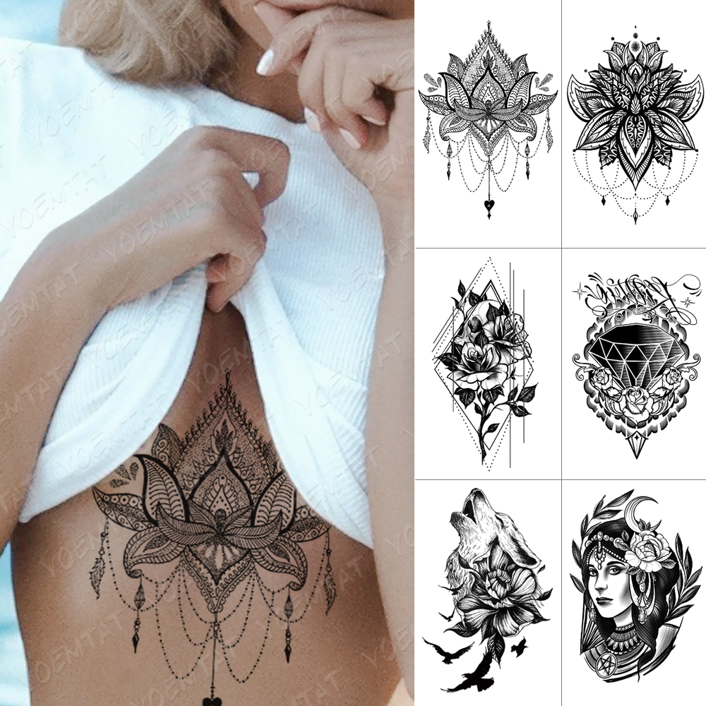Wasserdicht Temporäre Tattoo Aufkleber Brust Spitze Henna Mandala Flash Tattoos Wolf Diamant Blume Körper Kunst Arm Gefälschte Tatoo Frauen Männer