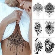 Autocollant de tatouage temporaire, imperméable, poitrine, dentelle, henné, Mandala, Flash, loup, diamant, fleur, bras d'art corporel, faux tatouage pour femmes et hommes