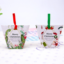 10pcs/lot Merry christmas gift foldable paper box for cookie food snack candy nougat