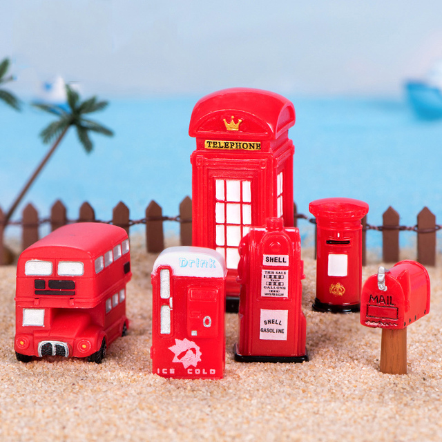 BAIUFOR Vintage Red Mailbox Telephone Booth Bus Figurines & Miniatures Sand Table of Building Model Child kids Toys 4