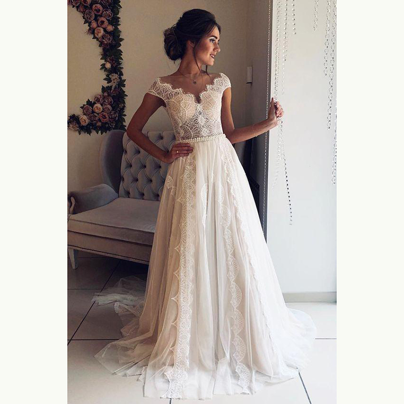 Hot Sale Charming Lace Cap Sleeves Bridal Wedding Gowns Illusion Bateau Neckline Wedding Dresses For Bride Sheer Back A Line Buy At The Price Of 139 00 In Aliexpress Com Imall Com