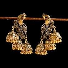 Vintage Women's Gold Peacock Indian Jewelry Gypsy Ethnic Boho Tribe Bell Long Tassel Drop Earrings Jhumka Jhumki Jewelry Gifts