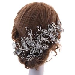 Flower Shaped Silver Color Rhinestone Headpieces Wedding Headband Bridal Hair Accessories