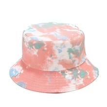 Bucket-Hat Fishing-Hat Panama Women Tie-Dye Hip-Hop Double-Sided-Wearing Casual for Colored