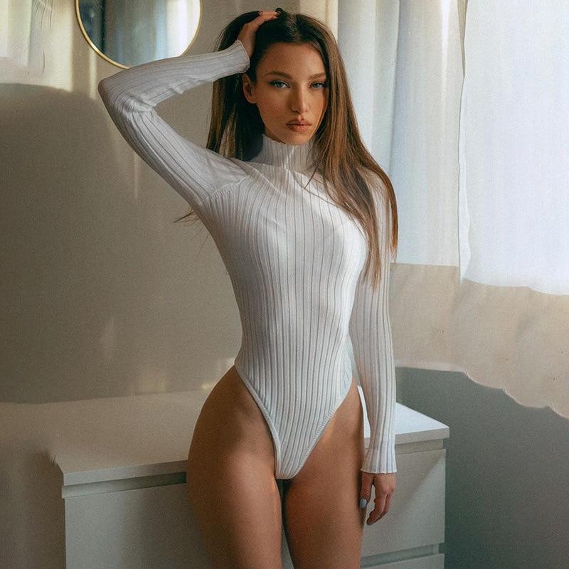 Женское боди с длинным рукавом, хлопковая однотонная теплая трикотажная водолазка в рубчик, однотонная одежда для офиса, весна 2021