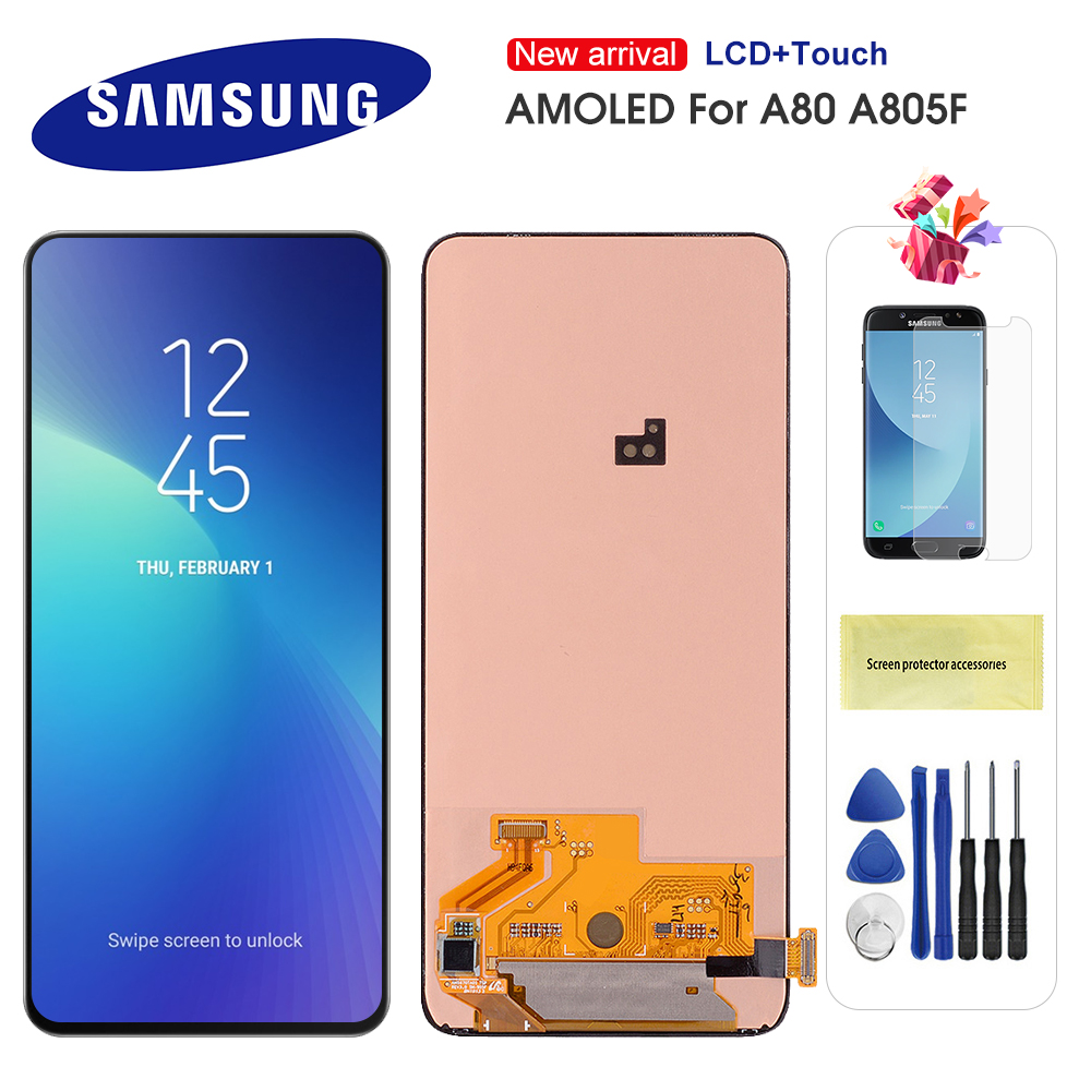 Original AMOLED 6.7'' <font><b>LCD</b></font> For <font><b>Samsung</b></font> <font><b>Galaxy</b></font> <font><b>A80</b></font> SM-<font><b>A80</b></font> A805 A90 A905 <font><b>LCD</b></font> Display Touch Screen Digitizer Assembly Replacement image