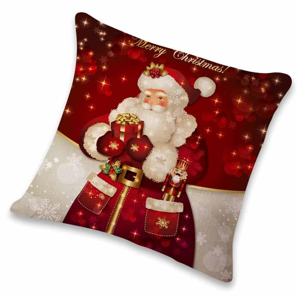 クリスマスギフト冬の雪だるま漫画綿抱擁枕ファッションクリスマスデザインのコットンリネン枕 Cover1
