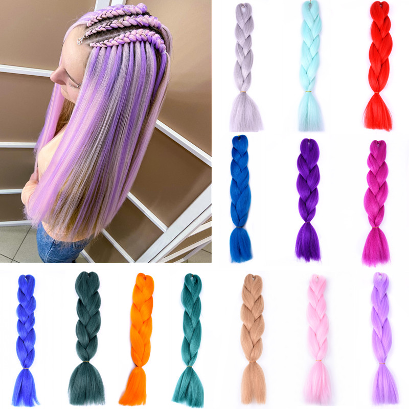 Long Synthetic Hair Rave Braids Ombre Crochet Braiding Box Braid Hair Extension Black Pink Colorful Bubble Braids for Party Rave