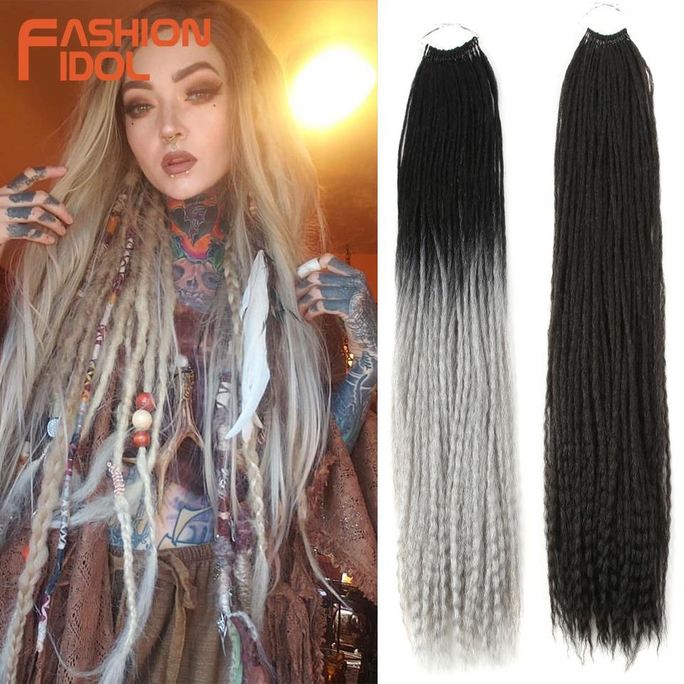FASHION IDOL 28 Inch Straight Dreadlocks Crochet Braids Hair Synthetic Braiding Hair Ombre Purple Soft Crochet Hair Extensions
