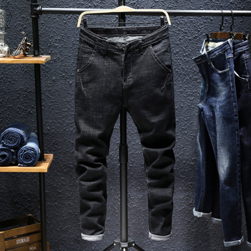 Autumn And Winter New Style Jeans Men Youth Slim Fit Pants Korean-style Trend Students Elasticity Casual Straight-Cut Pants Men'