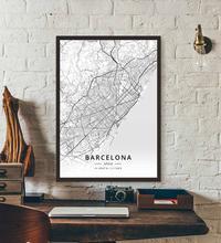 Плакат карты Барселоны Испании