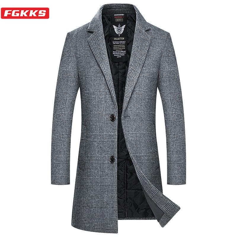 FGKKS Men's Wool Blend Coat Korean Version Spring Male Long Wool Blend Warm Fashion Plaid Print Coat Brand Men Wool Blends Coat