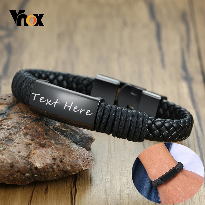 Vnox Men's Black Braided Leather Bracelets With Personalize Engrave Custom Gifts For Him Jewelry