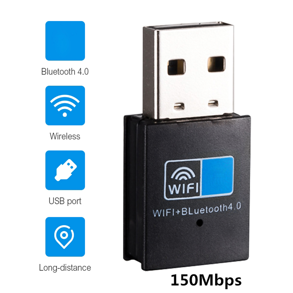 USB Bluetooth 4.0 Adapter Dongle, 150M Wireless WiFi Network LAN Card + Bluetooth V4.0 Adapter For Desktop Laptop PC