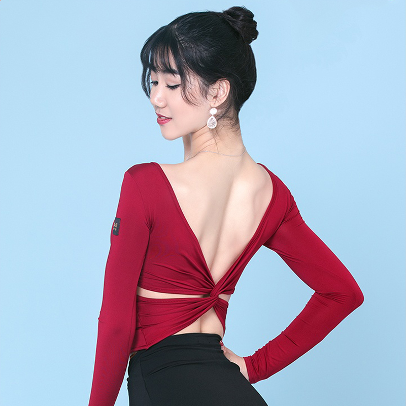 Latin Dance Costumes For Women Sexy Backless Long Sleeve Practice Tops Ballroom Dance Competition Shirt Rumba Dancewear VO274