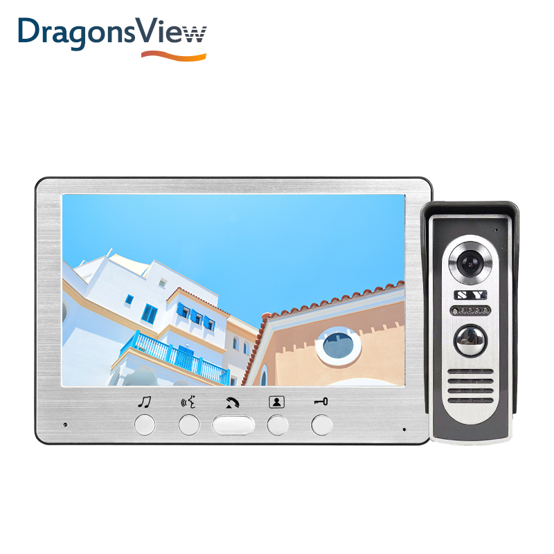 Dragonsview 7 Inch 700TVL Video Door Intercom System Silver Video Door Entry Panel Intercoms For Private Home Call Panel