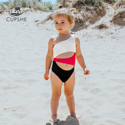 CUPSHE One Shoulder Cut Out One-piece Swimsuit For Toddler Girls And Girls Kids Swimsuit 2020 Children Bathing Suits 2-12 Years