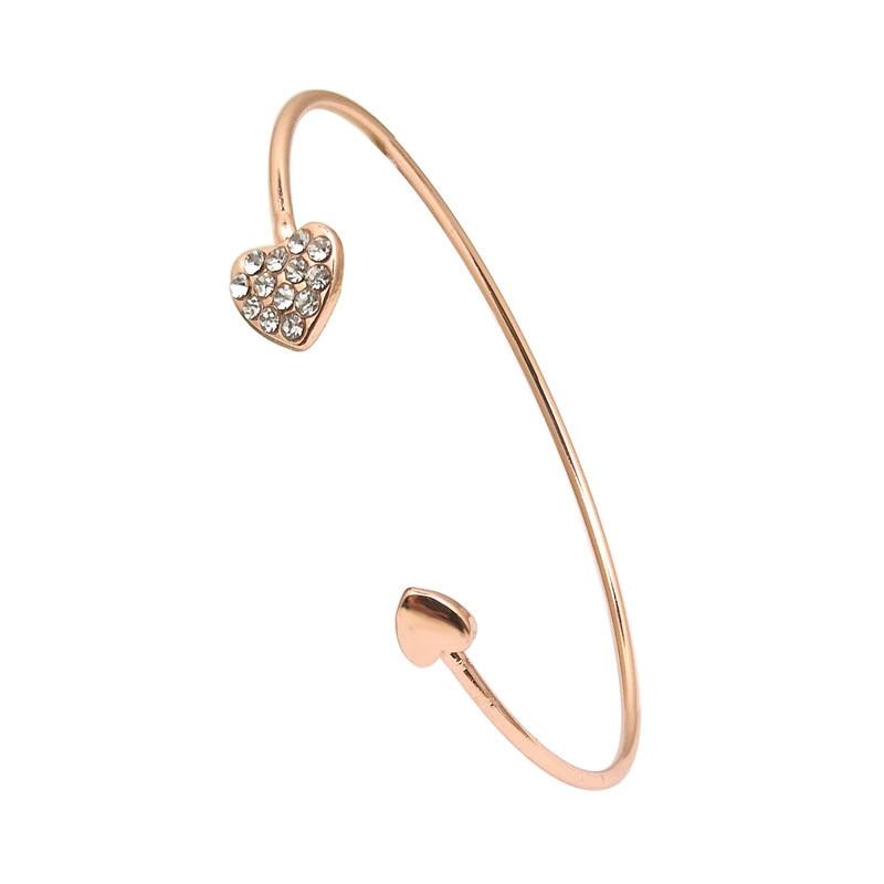Women Crystal Opening Bangle Jewelry Jewelry Adjustable Double Heart Loop Bracelet