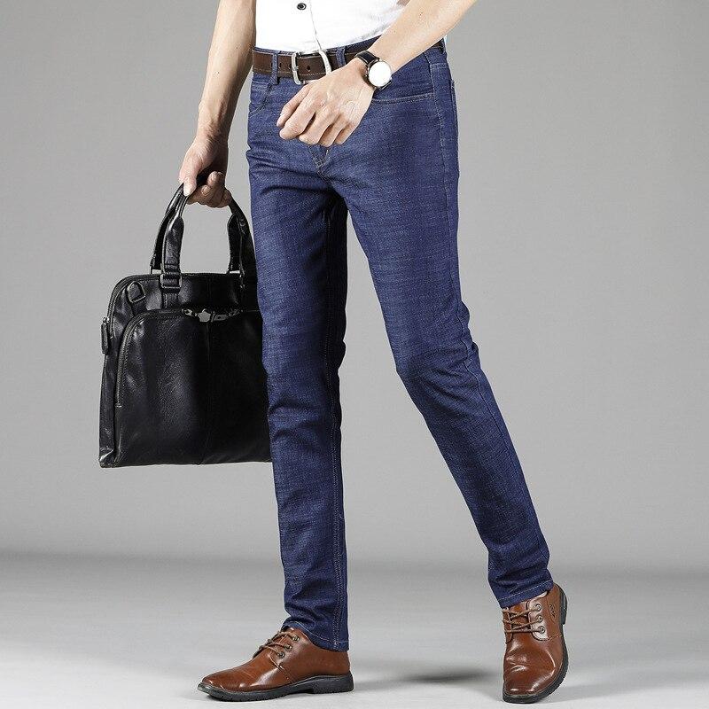 2018 Spring And Autumn New Style MEN'S Jeans Business Slim Fit Medium Waist Elasticity Pencil Pants MEN'S Trousers Fashion Man