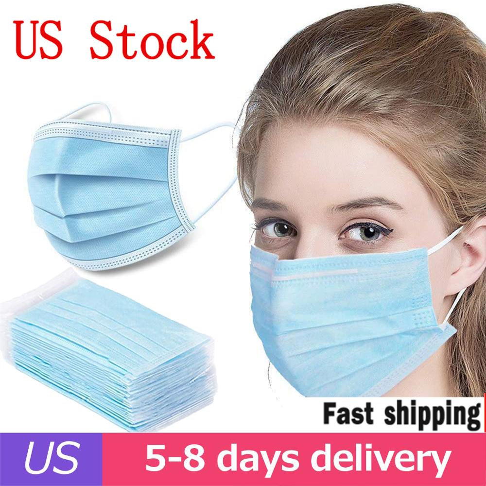 US Stock 50pcs Disposable Face Masks Anti-Pollution 3Laye Mask Protection Masks Elastic Ear  Disposable Dust Filter Safety Mask