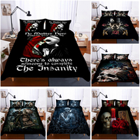 Hot style 3D digital skull printing 100% Polyester bedding set 1 duvet cover + 1/2 pillowcases bed in a bag (no sheet).