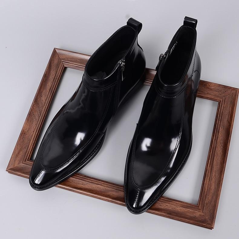 QYFCIOUFU 2019 mode hommes Chelsea bottes en cuir véritable Rome Style homme bottines à fermeture éclair homme robe chaussures marque chaussons - 6