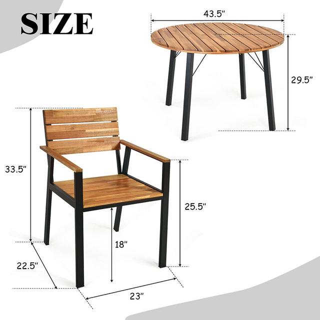 5 Pcs Patio Dining Chair Set with Umbrella Hole Weather Resistance & Umbrella Hole Design Patio Dining Set  Natural Design 5