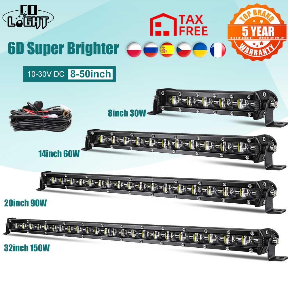 CO светильник, супер яркий светодиодный светильник, бар 6D 8-50 дюймов, внедорожный комбинированный светодиодный светильник для Lada Truck 4x4 SUV ATV Niva 12V 24V, автомобильный светильник для вождения