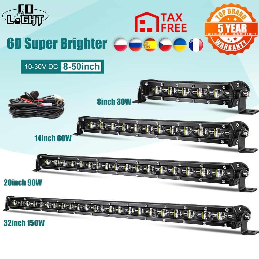 CO ışık süper parlak LED lamba Bar 6D 8-50 inç Offroad Combo Led çubuk Lada için kamyon 4x4 SUV ATV Niva 12V 24V otomatik sürüş lambası