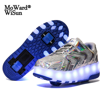 Size 28-41 Luminous Wheels Sneakers Kids Boys USB Charged Growing LED Roller Skate Shoes for Children Girls Double Wheels Shoes