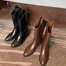 Knight boots 2020 sapatos femininos outono/inverno nova luva meados de salto apontado dedo do pé deslizamento de salto grosso retro ocidental botas de cowboy