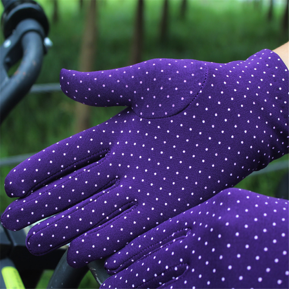 Hd9a450161a404508beb56dcf6e3594c9u - 1 Pair Gloves Women Touch Screen Thin Warm Gloves Bicycle Elastic Wrist Mittens Polka Dots Luvas Guantes Handschoenen