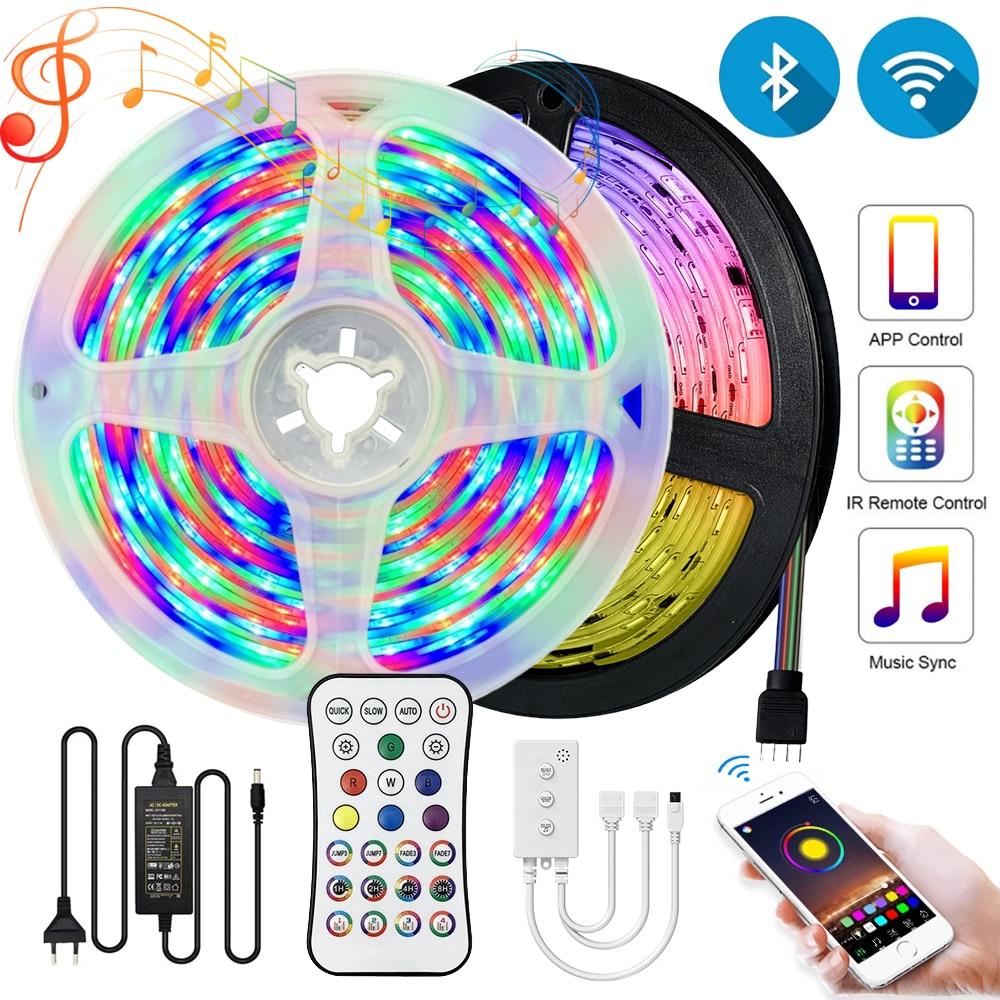 5m 10m 15m wifi bluetooth led tiras luzes 220v rgb 5050 ledstrips multicolorido fita fita lâmpadas para a decoração da parede do quarto 12v