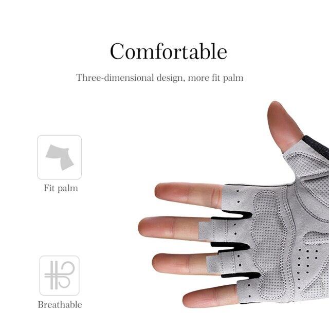 Rockbros luva de ciclismo antiderrapante, luva esportiva antisuor que cobre meio dedo, com tecido respirável e anti-impacto, mtb luva de bicicleta, 3