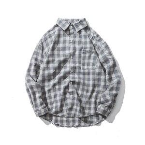 Image 5 - New Cotton Korean Style Clothe Fashion Streetwear Spring Summer Autumn Slim Fit Plaid Men Shirt Long Sleeve S 3XL