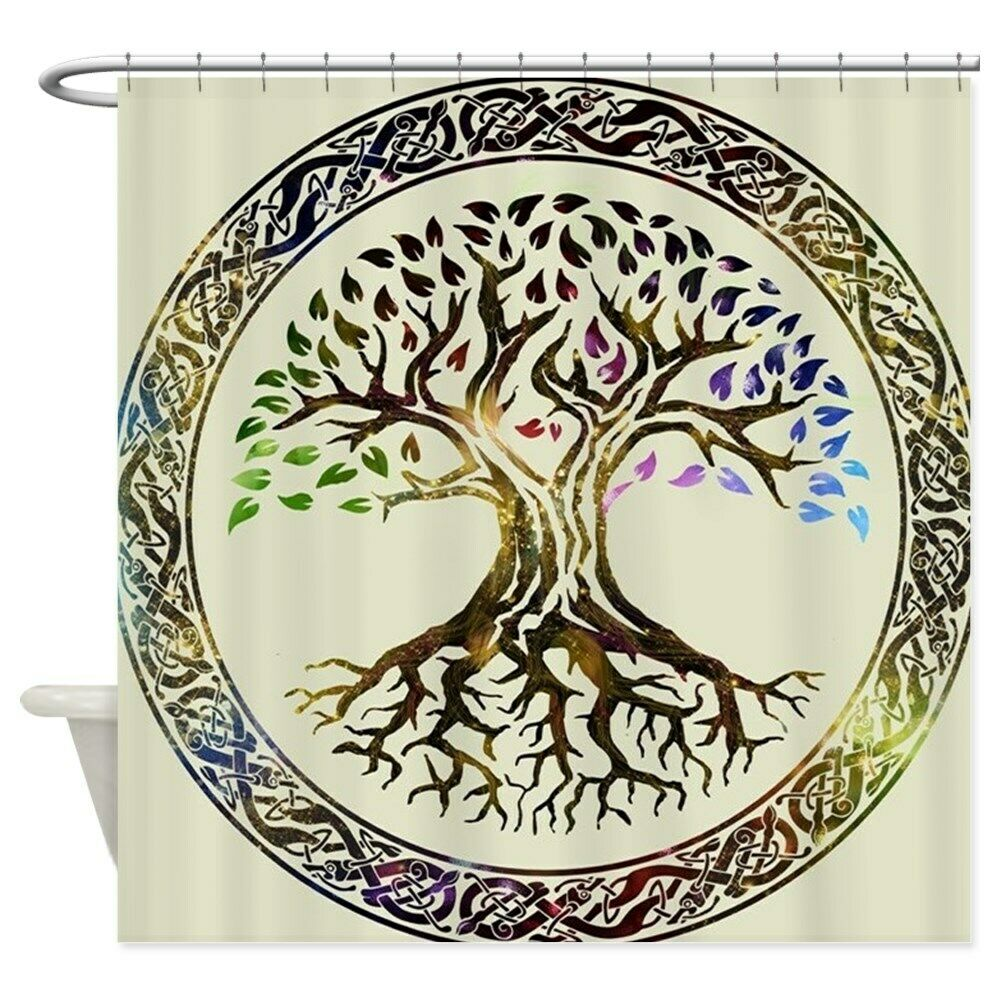 unique glowing tree of life shower curtain