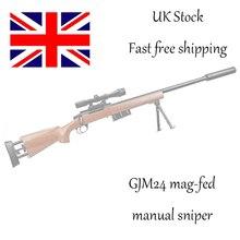 Wood GJM24 Gel Ball Blaster Manual Gel Soil Water Crystal Beads Toy Blaster 1:1 Sniper Toy Gun Model Great for Cosplay Prop salmo blaster feeder 1 40fd