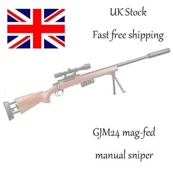 Wood GJM24 Gel Ball Blaster Manual Gel Soil Water Crystal Beads Toy Blaster 1:1 Sniper Toy Gun Model Great for Cosplay Prop