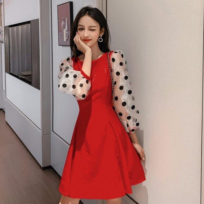 Осеннее винтажное Стильное женское платье в горошек с длинным рукавом, модное Брендовое платье, мини-платье, элегантная женская одежда, нов...