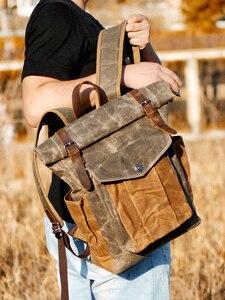 Image 3 - MUCHUAN Vintage Vintageกระเป๋าเป้สะพายหลังผ้าใบสำหรับผู้ชายน้ำมันแว็กซ์ผ้าใบหนังกระเป๋าเป้สะพายหลังกันน้ำขนาดใหญ่Daypacks Retro Bagpack